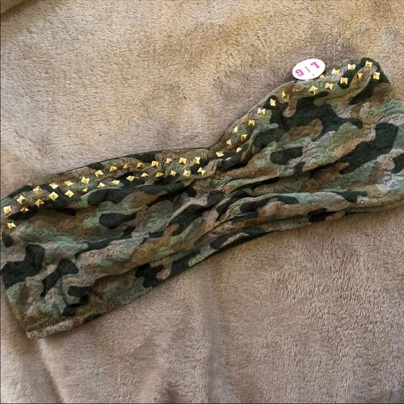 413ec46f045 VS Pink camouflage bling bandeau bra bralette L